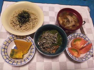 SBSH0206_0906夜-メカブじゃこ納豆、シメジスープ、かぼちゃ、トマト、そば_400.jpg