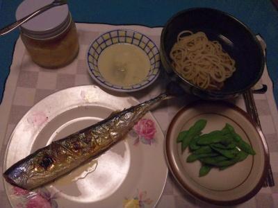 SBSH0204_0927夜-秋刀魚レモンソース、おろし蕎麦、収穫した枝豆_400.jpg