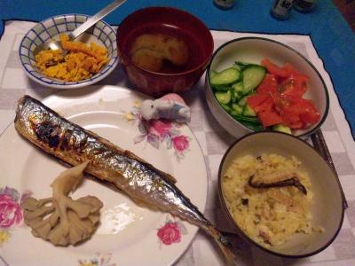 SBSH0204_1023夜-秋刀魚、サラダ、かぼちゃ、エリンギご飯、味噌汁_400.jpg