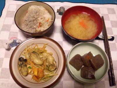 SBSH0242_0110夜-牡蠣エスニック炒め、しらすご飯、味噌汁、こんにゃく煮物_400.jpg