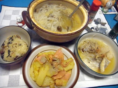 RIMG0009_0202夜-ポテトとハムソテー、鱈の寄せ鍋、山菜おこわ_400.jpg