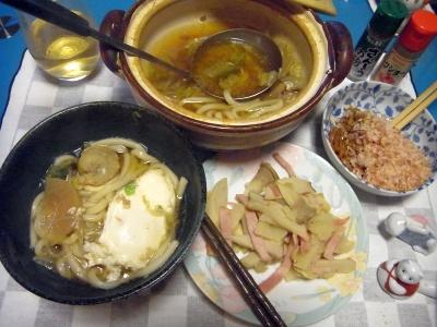 RIMG0009_0205夜-鍋焼きうどん、エリンギとポテトソテー、オカカ納豆_400.jpg