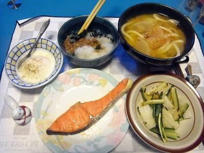 RIMG0016_0331夜-鮭焼き、ポーチドエッグ、サラダ、おろし納豆、味噌うどん_400.jpg