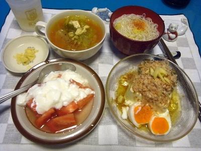 RIMG0011_0727夜-卵とおかか添え冷奴、素麺、ヨーグルトトマト、ガスパッチョ風_400.jpg