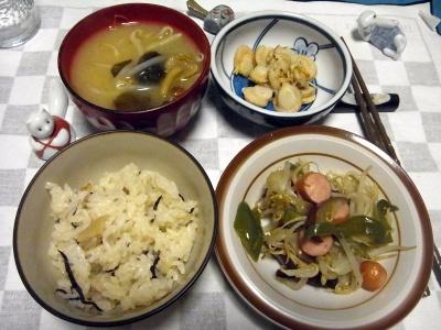 RIMG0008_1115夜-ベビー帆立、ソーセージと野菜炒め、味噌汁_400.jpg