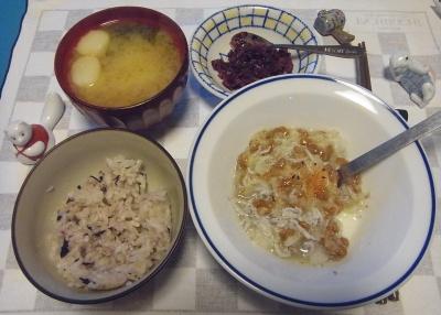 RIMG0006_1123夜-しらすおろし納豆、麸の味噌汁、京都の刻みしば漬け、16穀米ご飯_400.jpg