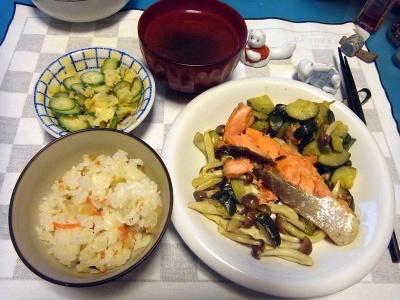 RIMG0013_1203夜-鮭蒸し焼きグリルドズッキーニ添え、ポテトサラダ、お吸い物、すし飯_400.jpg