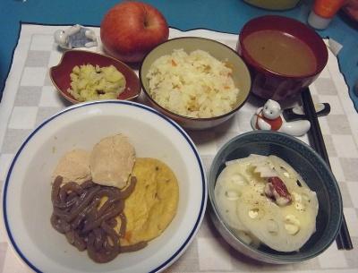 RIMG0020_1224夜-鶏とガンモとこんにゃくの煮物、酢蓮と大根の梅和え、ポテトしらすサラダ、スープ_400.jpg