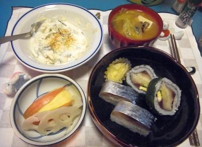 RIMG0007_1227夜-鯖寿司、味噌鍋、ポテトヨーグルトサラダ、リンゴと酢蓮_400.jpg