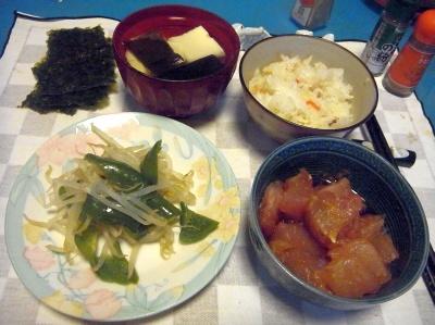 RIMG0025_0302夜-マグロ漬け、湯豆腐、野菜炒め、すし飯と海苔_400.jpg