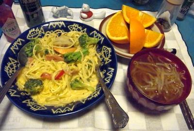 RIMG0027_0422夜-ホタテスパゲティ、もやしスープ、オレンジ_400.jpg