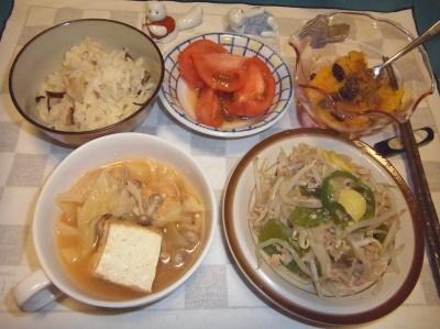 RIMG0031_0612夜-厚揚げスープ煮、もやし炒め、筍ご飯、かぼちゃレーズン、トマト_400.jpg