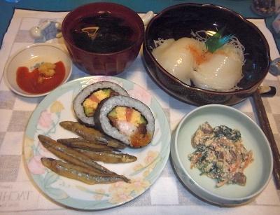 RIMG0018_0621夜-アナゴ巻き寿司、イカの刺身、ほうれん草の白和え、きびなご唐揚げ、お吸い物_400.jpg