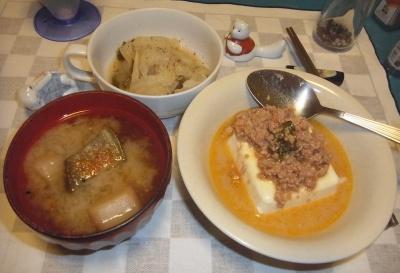 RIMG0019_0714夜-いなばの鶏そぼろとバジル奴、ナスの味噌汁、キャベツの煮物_400.jpg