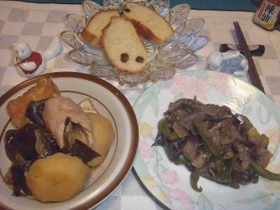 RIMG0011_0820夜-野菜炒め、厚揚げとじゃがいもと鶏煮物、パン_400.jpg