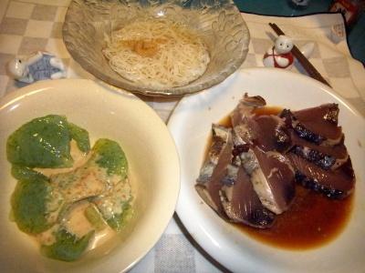 RIMG0039_0824夜-鰹のたたき、コンニャク胡麻ダレ、素麺_400.jpg