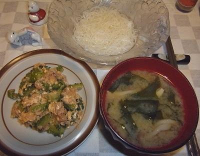 RIMG0004_0827夜-ゴーヤチャンプルー、わかめ味噌汁、素麺_400.jpg