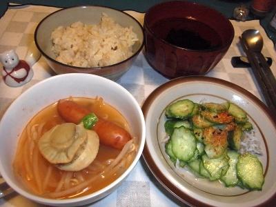 RIMG0005_1020夜-ホタテスープ、しらすキュウリ、お吸い物、松茸ご飯_400.jpg
