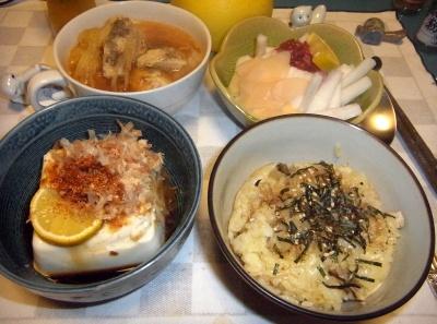 RIMG0005_1023夜-冷奴、サンマご飯、鶏のスープ煮、大根生姜梅あえ_400.jpg