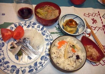 RIMG0013_0107夜-しめ鯖、たけのこご飯、数の子、ナスはさみ揚げ、えのき汁_400.jpg