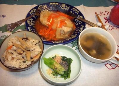 RIMG0001_0109夜-チキンバジル風味ソテーにんじんソース、筍ご飯、小松菜おひたし、スープ_400.jpg