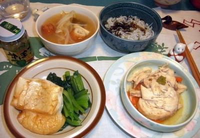 RIMG0010_0110夜-チキンソテー、しらすもずく、焼き餅、小松菜おひたし、野菜スープ_400.jpg