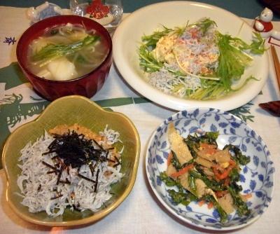 RIMG0014_0119夜-しらす納豆、筍胡麻和え、水菜サラダ、鱈ちり_400.jpg