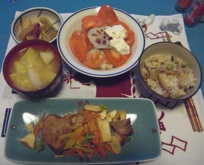 RIMG0007_0208夜-ポークステーキ、白菜味噌汁、炊き込みご飯、トマトレンコンサラダ、煮物_400.jpg