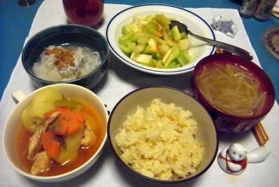 RIMG0003_0304夜-松茸ご飯、ポトフ、もやし味噌汁、セロリサラダ、おろしちりめん納豆_400.jpg