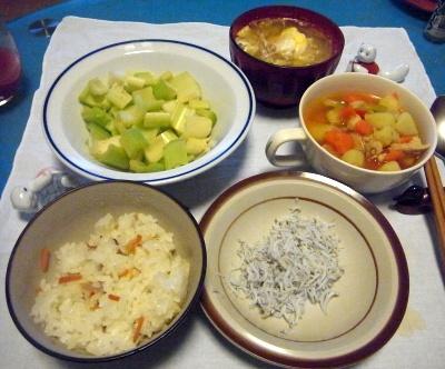 RIMG0008_0305夜-すし飯、しらす干し、セロリ、ポテトスープ、卵味噌汁_400.jpg