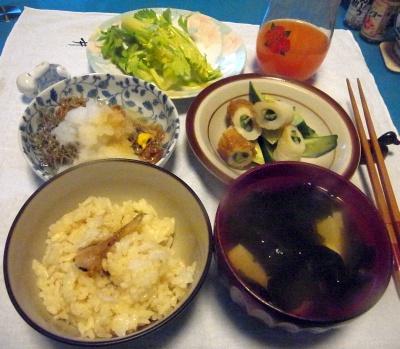 RIMG0019_0311夜-炊き込みご飯、わかめスープ、おろし雑魚納豆、キュウリちくわサラダ、セロリ_400.jpg