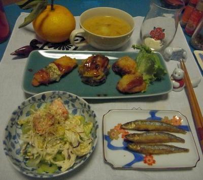 RIMG0010_0418夜-きびなご唐揚げ、イカとナスとタラフライ、サラダ、味噌汁_400.jpg