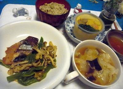 R0010143_0730夜-マグロの照り焼き、キャベツ味噌汁、冷たい茶碗蒸し、蕎麦_400.jpg