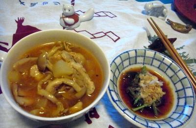 R0010257_0810夜-しめじとサーモンのスープ、三つ葉のおひたし_400.jpg