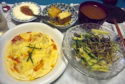 R0010595_0928夜-チーズピザ、小女子サラダ、厚揚げうま煮、いちじくヨーグルト、スープ_400.jpg