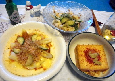 R0010599_0929夜-ピザ、厚揚げステーキ、サラダ_400.jpg
