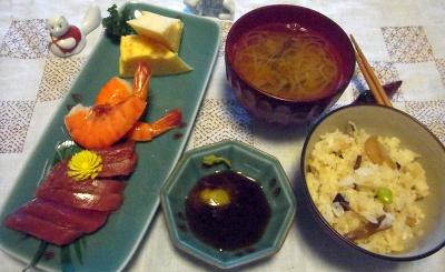 R0010611_1001夜-マグロとエビ、玉子焼き、ハリハリご飯、味噌汁_400.jpg