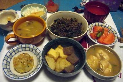 R0010861_1122夜-鶏のあんかけ、煮物、揚げ出し里芋、大根の葉のじゃこ炒め、味噌汁、大根サラダ_400.jpg
