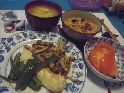 R0010939_1204夜-チキンソテー、トマト、味噌汁、サンマご飯_400.jpg