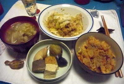 R0011027_1225夜-煮物、サンマご飯、大根セロリおかかサラダ、野菜スープ_400.jpg