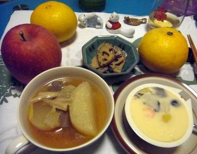 R0011123_0112夜-大根鍋、茶碗蒸し、蓮根炒め_400.jpg