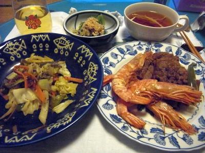 R0011155_0116夜-海老と牛肉ソテー、野菜炒め、干しエノキスープ、小松菜おひたし_400.jpg