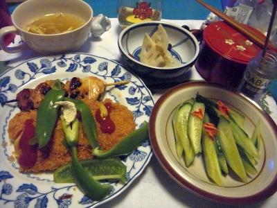 R0011171_0119夜-焼き鳥、ささみカツ、胡瓜、干しエノキスープ、酢漬けレンコン_400.jpg