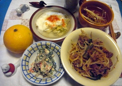 R0011314_0129夜-牛肉ナムル炒め、白和、ヨーグルト酢キャベツ、干しエノキスープ、夏みかん_400.jpg