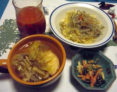 R0011528_0222夜-チキン、しめじスープ、ほうれん草和え、ジャコとキャベツサラダ_400.jpg
