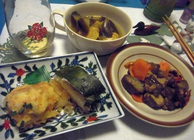 R0011548_0226夜-鯖寿司、蟹豆腐揚げ、茄子炒め、野菜スープ_400.jpg