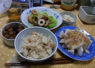 R0011025_0303夜-かやくご飯、大根サラダ、ちくわとキャベツ炒め、小梅_400.jpg