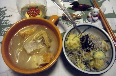 R0011614_0316夜-鱈味噌汁、ジャコ海苔の佃煮ポテトサラダ_400.jpg