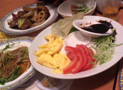 SBSH0413_0404夜・外食-手巻きサラダ、レンコン酢豚、鰤オードブル_400.jpg