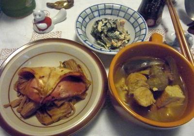 R0011706_0405夜-イカ焼きとエノキ炒め、野菜とチキンカレー、ほうれん草の白和_400.jpg